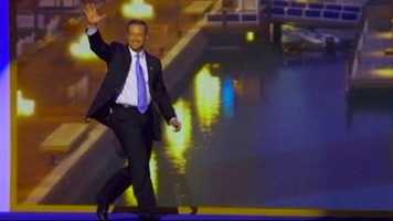 Gov. Martin O'Malley walks onto the stage for his speech at the Democratic National Convention.