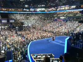 Michelle Obama addressing the delegates Tuesday night.
