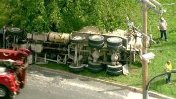 A cement truck that overturned in Baltimore City caused trouble for some drivers trying to get onto Interstate 83 on Wednesday.