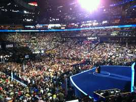 President Barack Obama speaks before a packed arena.