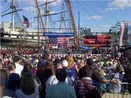 Fans pack the Inner Harbor Ampitheater on a beautiful Monday afternoon.