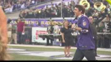 Later that evening, Phelps got to run out onto the field at M&T Bank Stadium with the Ravens for their home opener.