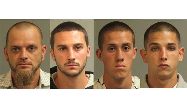 Anne Arundel County police said following a drug bust they arrested and charged 33-year-old Anthony William Kozak, 23-year-old Chase Douglas Hynson, 18-year-old Patrick Cory Rhodes and 23-year-old Jacob Ryan Qualls with possession of marijuana and of controlled substance paraphernalia.Qualls also faces additional charges of possession with the intent to distribute hashish, police said.