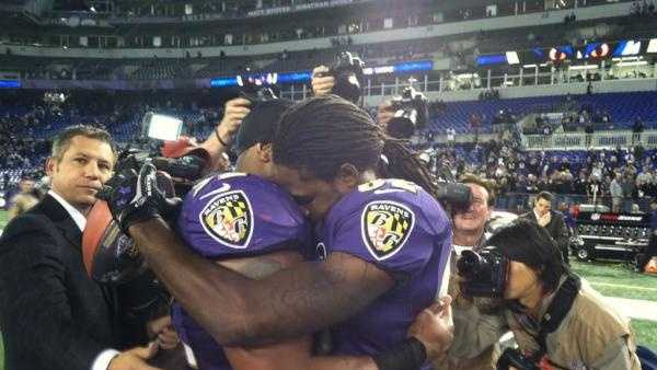 Torrey Smith and Ray Lewis after an emotional game.