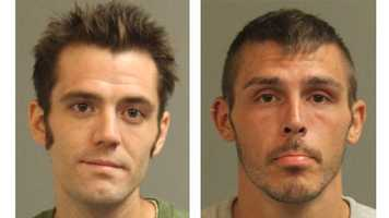 Authorities said George Andrew Poe, 28, and Charles Daniel Sillaman, 25, (pictured left to right) were arrested and charged with theft for stealing wire on Aug. 15 from the Home Depot store on Mountain Road in Pasadena. The pair was arrested the next day after attempting to sell 148 pounds of wire at the Maryland Recycle in Glen Burnie.