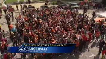 Hundreds of Orioles fans showed up Wednesday at a rally to support the Orioles as they get set to play the Yankees in Game 3 of the ALDS.