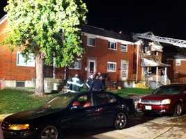 A call shortly after 2 a.m. reported the fire in the 5600 block of Denwood Avenue near Moravia Road.