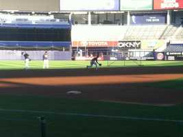 The Yankees take reps at shortstop with Jayson Nix, who took over in Game 4 for Derek Jeter batting at DH.
