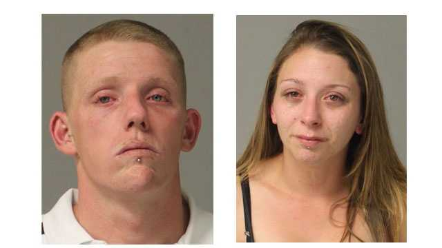 Police said Michael Allen Dunlap, 27, (pictured left) faces charges of burglary, theft, first-degree assault and trespassing. Ashley Nichole Edge, 25, (pictured right) faces charges of burglary, theft and possession of a controlled substance, police said.