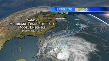 Hurricane Sandy's potential storm paths as of Thursday afternoon.