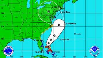 The updated 5-Day Forecast Cone map from the National Hurricane Center: Friday, Oct. 26, 5 a.m.