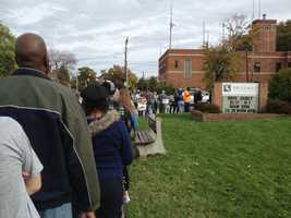 The line wraps around theLeague for People with Disabilities building on East Cold Spring Lane. Voters here also experienced waits of upwards of two hours.