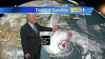 John Collins shows how Sandy is likely to move around in the Atlantic before it gets pulled back to the coast.