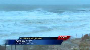 Huge waves begin to appear in Ocean City by 7 a.m. Monday.