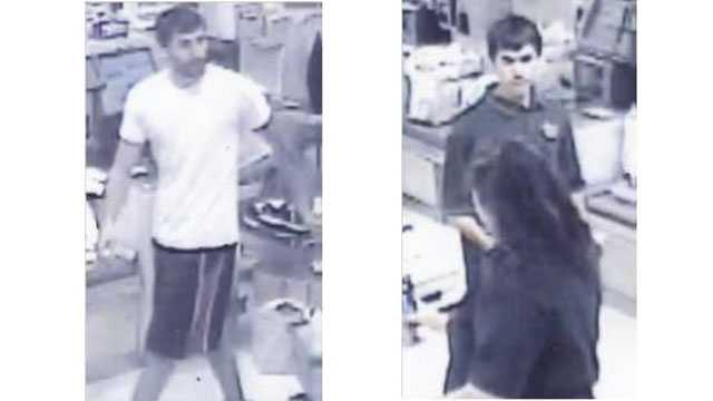 Authorities said two men purchased more than $400 of gift cards and other merchandise at three Eldersburg businesses using the debit card.