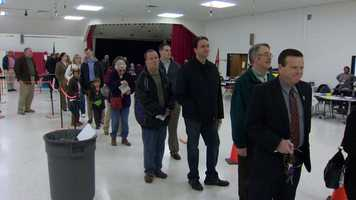 Lines also formed early and kept a steady pace all morning at Carrolltowne Elementary School in Carroll County.