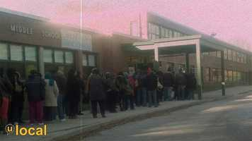 Winston Middle School voting line from a mobile u local user
