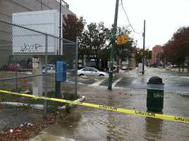 The 60-inch main broke in the middle of the intersection between Charles and 20th streets in the Charles North area of the city.