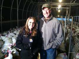 Ava talks turkey with Tom Reynolds, who owns the farm.