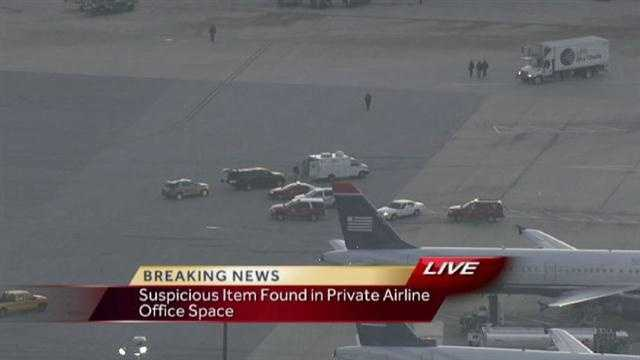 Officials at Baltimore-Washington Thurgood Marshall International Airport are investigating a suspicious item left in an office area.
