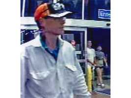 Surveillance photos from the Middle River location and the Glen Burnie Walmart show a man police are seeking.