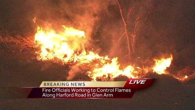 Brush fire ignites in Glen Arm area