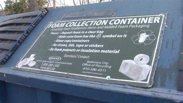 Styrofoam recycling free in Baltimore