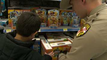 And, the kids get a kind of personal shopper to accompany them, courtesy of the Maryland State Police.