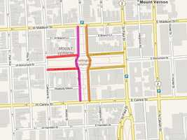 From 6 p.m.-11 p.m. -- North Charles Street on the east side of the Washington Monument from Centre to Madison streets, AND East Mount Vernon Place from Charles to St. Paul streets. (orange)