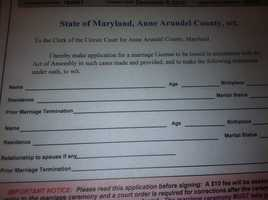 A marriage application for same-sex couples looking to get married in Anne Arundel County.