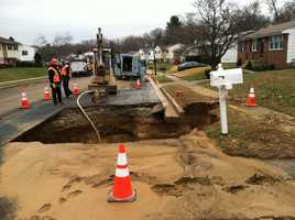 DPW officials said an 8-inch water main broke around 5:45 a.m. Friday in the 8600 block of Lucerne Road.