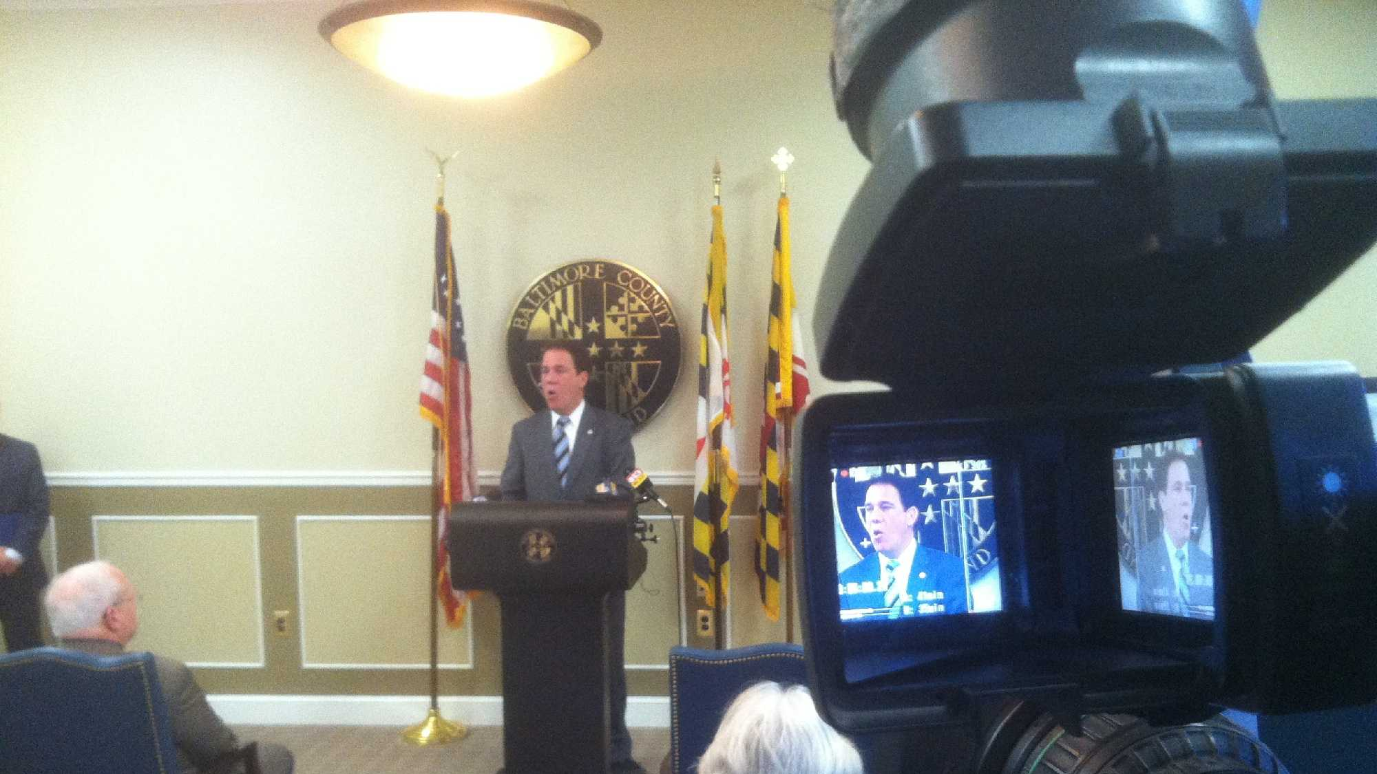 Baltimore County Executive Kevin Kamenetz talks with reporters about the sale of key assets of the Sparrows Point steel mill.