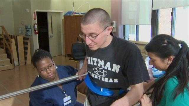 Army veteran Jimmy Poleto learns to walk again after being hit by an alleged drunken driver.