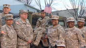 Khalil took a ride in a Humvee and posed for pictures with his new fellow soldiers.