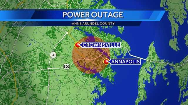 Crownsville-Annapolis power outage map