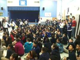 The Ravens Purple Caravan stops at Tyler Heights Elementary School in Annapolis for a special assembly!