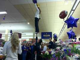 You don't see this everyday at the Giant in Abingdon. Stop three on the Ravens Purple Friday Caravan.