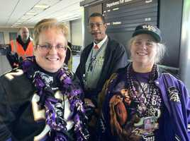 A pair of Ravens fans - at the gate - ready for the next step before the Superbowl in New Orleans.WBAL-TV/Scott Wykoff