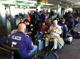 The gate at BWI is packed with Ravens fans with AFC Championship tickets who are flying to Providence and then on to Gillette Stadium.WBAL-TV/Scott Wykoff