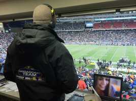 A Q's eye view from the WBAL 98 Rock broadcast booth at Gillette Stadium.