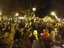 Ravens fans in Fells Point celebrating the 28-13 victory over the New England Patriots.