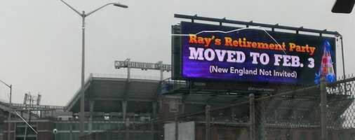 After billboards in New England professed the AFC Championship as Ray Lewis' retirement party, these say otherwise.