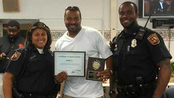 Brandon Lee was honored by Baltimore City School Police Department for his work with the youth in city schools.