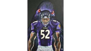 Lee said he hopes to one day hand Ravens player Ray Lewis this hand-crafted painting he made for the soon-to-retire Baltimore icon.