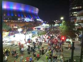Fans leave the Mercedes-Benz Superdome in New Orleans following the Ravens win.