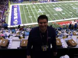 11 News reporter Lowell Melser at the Superdome before the game.