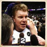Center Matt Birk celebrates.