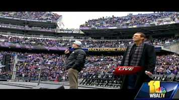 Head coach John Harbaugh and team owner Steve Bisciotti surprise fans at the stadium before the parade began.