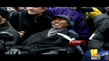 O.J. Brigance, who was part of the 2001 Super Bowl-winning team and continues to work with the Ravens as he battles Lou Gehrig's disease, soaks in the fun at the stadium.