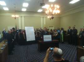 A death penalty news conference is held at the State House on Feb. 6.